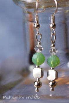 Earrings Green Faceted Agate and Silver by PickleStiksandCo, $8.00