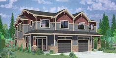 House front color elevation view for D-600 Craftsman duplex house plans, luxury duplex house plans, Hillsboro Oregon, house plans with loft, D-600