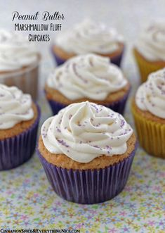 Peanut Butter Marshmallow Fluff Cupcakes