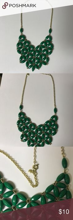 J.Crew-Green statement necklace Green bead statement necklace. Last picture shows color best! J. Crew Jewelry Necklaces