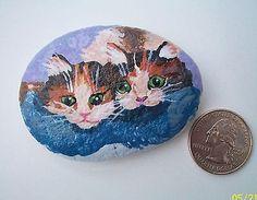 Kitten-Twins-Calico-Cat-Cuties-Original-Hand-Painted-Art-Garden-Rock-Collectible