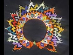 COLLAR COLORIDO EN MOSTACILLA PARTE UNO - YouTube Beading Patterns Free, Beaded Jewelry Patterns, Beading Tutorials, Bead Jewellery, Jewelry Making Beads, Beaded Collar, Peyote Beading, Native American Beading, Zulu