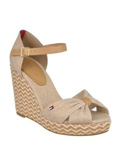 4504ae5f1881a Tommy Hilfiger - Emery Espadrilles Peep Toe Wedged Sandals Sand -  www.mcelhinneys.com