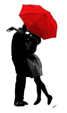 Kissing Silhouette, Couple Silhouette, Silhouette Painting, Umbrella Painting, Umbrella Art, Couple Painting, Couple Art, Couple Drawings, Art Drawings