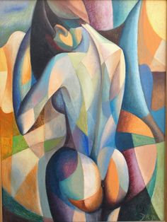 Diego Voci: Composition Nude (ca. 1971), 31 x 16in, Brown Family Collection of DIEGO artworks. We highlight a DIEGO's cubistic feel to the beauty of the female. The range of hues and tones exaggerate into the curves of the female body. DIEGO, an international figurative artist pushed the limits incorporating a variety of techniques to recreate the allure of the human figure.