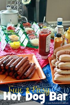 Fun & Easy Hot Dog Bar at thatswhatchesaid.com #ad #FinestGrillathon Grill Party, Food Bar Party, Bbq Party, Burger Bar Party, Wedding Food Bar Ideas, Fiesta Party, Hot Dog Toppings, Summer Birthday, Birthday Party Food For Kids