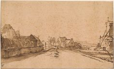 Rembrandt Harmenszoon van Rijn | The Bulwark De Rose and the Windmill De Smeerpot, Amsterdam | Drawings Online | The Morgan Library & Museum