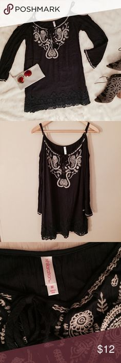 """Cold Shoulder Sundress / Cover Up Super flattering flowy navy dress with offwhite embroidery. Lace trim on sleeves and hem. Can be worn as a mini dress or as a swimsuit coverup. Perfect for a pool party! 33"""" length Swim Coverups"""