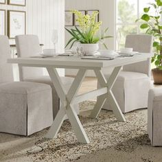 Laurel Foundry Modern Farmhouse Moravia Kitchen Island & Reviews | Wayfair Trestle Dining Tables, Solid Wood Dining Table, Dining Table In Kitchen, Table And Chairs, Small Dining, Dining Set, Console Table, Kitchen Island With Granite Top, Table Height