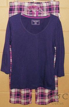 Nautica NEW 2PC Pajama Sleep Set LARGE Purple Plaid Stretch V-Neck Top Bottoms