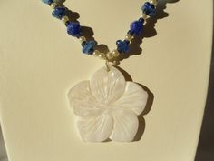 Blue and White Glass Beaded Necklace with by HappyTreeFrogStudios