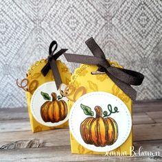 Hello Pumpkin boxes by Jeanna Bohanon Halloween Treats, Halloween Pumpkins, Pumpkin Images, Treat Holder, Treat Box, Cute Pumpkin, Pumpkin Ideas, Creative Bag, Stampin Up Paper Pumpkin