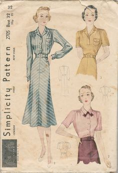 """Simplicity 2705 -- 1930s blouse and four gore skirt -- bust 32 -- alt. to 34 skirt requires 1 1/4 yds 60"""" fabric (2 yds 39"""") ; both short sleeve blouses requires 1 5/8 39"""" fabric ; long sleeve blouse with skirt requires 4 5/8 yd 39"""" fabric"""