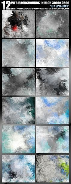 """12 Web Backgrounds in High 3000x2500 Resolution  #GraphicRiver         Great general purpose set, very """"splashy"""" and """"grungy"""". Use it for your design creations, as your photo backgrounds, book, eFlyer or presentation covers, even for film splash screens.   Included: – 12×100% quality .jpg files – preview – info                                                                                            More items by scarab13       Created: 13April11 GraphicsFilesIncluded: JPGImage…"""