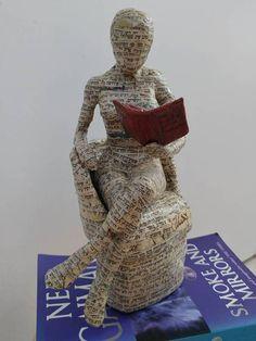 Book lover gift reading woman papier mache sculpture
