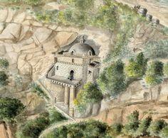 Vista de la capilla de Las Lajas, tomada de la orilla derecha del río Guáitara, provincia de Túquerres