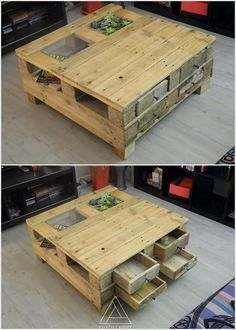 If you are thinking about setting an attractive piece of table in your living room then why don't you think about installing the wood pallet table. Such wood pallet tables are much broad in shape length. The interesting part of this wood pallet table is that it is being equipped with the features of the storage too. You can use the upper portion of the table to fill it up with the beauty of planters.