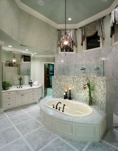 Love the tub and the walk in shower right behind it...beautiful!