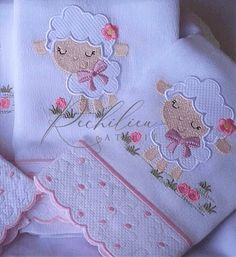 Baby Embroidery, Hand Embroidery Stitches, Silk Ribbon Embroidery, Embroidery Designs, Baby Shawer, Baby Art, Bambi Nursery, Baby Girl Clipart, Baby Frocks Designs