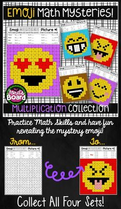 Your students will have fun practicing multiplication as they solve emoji mystery pictures! Students solve math problems and color by code. There are 5 engaging, print-and-pass-out activity pages! Also included are answer keys and 2 work mats to choose f Multiplication Facts Practice, Fractions Worksheets, Comparing Fractions, Eureka Math, Math Groups, Order Of Operations, 3rd Grade Math, Grade 3, Math 2