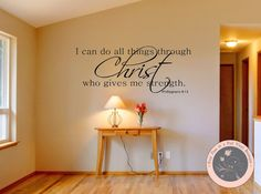 Wall Decals for the Home - I can do all things through Christ - Vinyl Wall Decals - Christian Wall Decals - Philippians 4:13