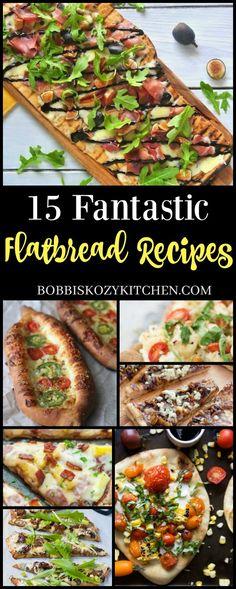 15 Fantastic Flatbread Recipes from www.bobbiskozy… 15 Fantastic Flatbread Recipes from www. Flatbread Appetizers, Easy Flatbread Recipes, Easy Bread Recipes, Healthy Appetizers, Appetizer Recipes, Cooking Recipes, Flatbread Ideas, Flatbread Sandwiches, Tea Sandwiches