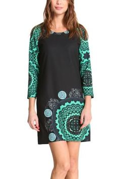 Sarita dress designed for Desigual by Christian Lacroix. The kaleidoscopic images and 3/4-length sleeves look spectacular. Don't miss out on the range by Lacroix from the Why