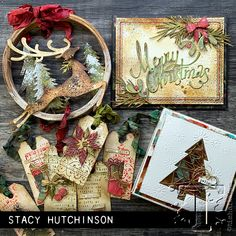 Sizzix Thinlits Die Set by Tim Holtz - Large Funky Festive Christmas Card Crafts, Christmas Ribbon, Christmas Tag, Xmas Cards, Christmas 2019, Handmade Christmas, Holiday Cards, Christmas Ornaments, Christmas Presents