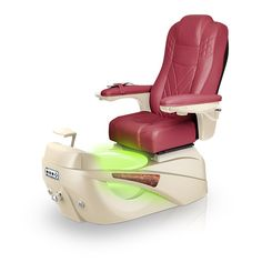 Luminous pedi-spa shown in Burgundy Ultraleather cushion, Champagne base, Aurora LED Color-Changing bowl (shown in green)