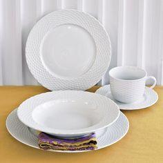 Pillivuyt Basketweave Dinnerware Place Settings & Pillivuyt Basketweave Porcelain Dinner Plates | Dinner plate sets ...