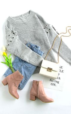 Grey Eyelet Lace Up Sleeve Pullover Sweater with denim skirt and heel boots from romwe.com