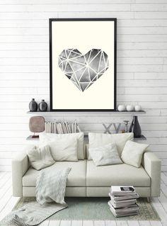 Poster mit Herz aus geometrischen Mustern für Deine Wanddeko / art print with geometric heart as wall decoration made by Schöne Dekor via DaWanda.com