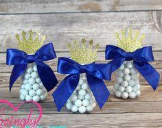 Kleine prins Babyfles gunsten in Royal Blue & Glitter goud - Set van 12 - babydouche - extra kleuren beschikbaar