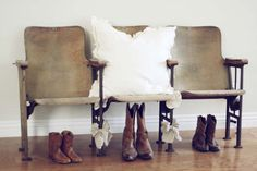 Vintage Theater chair and old cowboy boots!