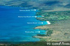 View of Spencer Beach, Mauna Kea Beach, Hapuna Beach, and Waialea Bay