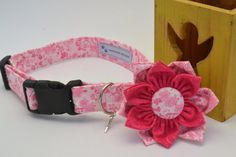 Unique Pink Flower Print Pet Dog Collar with matching removable Double Flower by HaleysPetBoutique
