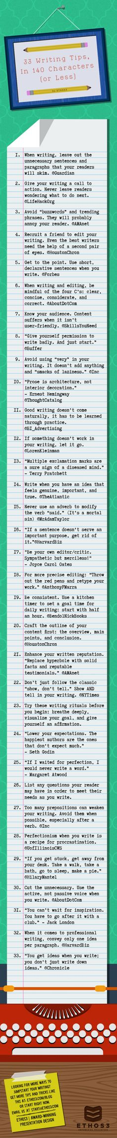 33 Writing Tips, in 140 characters or less (By Ethos3) by Ethos3 | Presentation Design and Training via slideshare