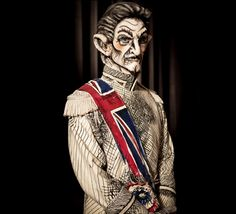 Want cool ideas for costumes and makeup for halloween (and be entertained too)?  Try watching Faceoff.  Love the show.  This one looks like it walked off the pages of a sketchbook! Fan of Roy's work.  Syfy Face Off Season 5 Episode 1 Foundation Challenge - Roy's Caricatured General