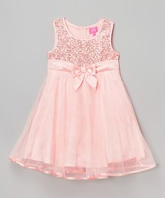 Look at this Zunie & Pinky Blush Sequin Overlay Dress - Girls on #zulily today!