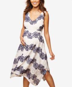 Jessica Simpson Maternity Printed Handkerchief-Hem Dress - Cloud Dancer Stripe S