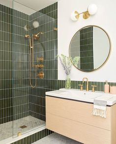 Bathroom decor for the master bathroom remodel. Learn master bathroom organization, bathroom decor ideas, master bathroom tile some ideas, master bathroom paint colors, and much more. Bathroom Renovations, Home Remodeling, Remodel Bathroom, Shower Remodel, Fireclay Tile, Bad Inspiration, Bathroom Inspo, Brass Bathroom Fixtures, Green Bathroom Tiles