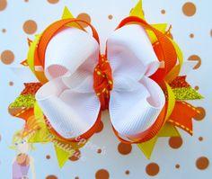 Candy Corn hair bow Halloween hair bow girls cute by JaybeePepper, $7.25
