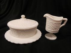 Little creamer and covered butter dish I recently added to my collection. English in origin.