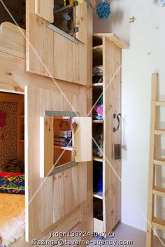 I love the sliding shelf that hides behind the bunk. Fun kids room / bunk beds - built in storage Bunk Beds Built In, Bunk Beds With Stairs, Loft Spaces, Kid Spaces, Shutter Designs, Deco Kids, Childrens Beds, Built In Storage, Cool Rooms
