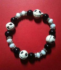 Polymer clay Jack's SKeleton bracelet