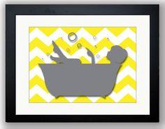 Bathroom decor: Grey Girl Yellow Chevron in a Bath Tub Bathroom Art Print Wall Decor Modern Minimalist