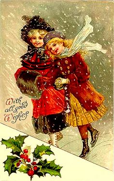 Two Cute Girls !!Merry Christmas - vintage
