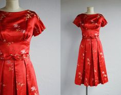 Vintage 1960s Cocktail Dress / 60s Red Chinese Silk Brocade Party Dress with Pleated Skirt Bow Belt