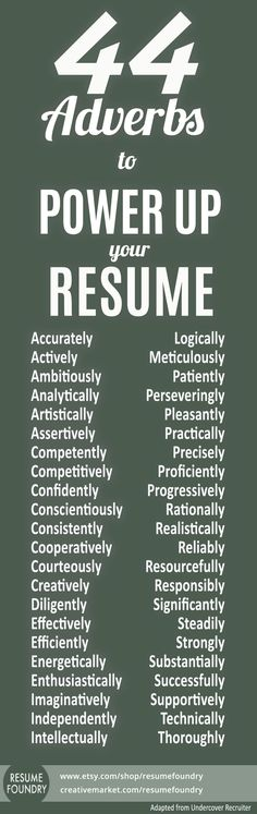 20 Powerful Words to Use in a Resume NOW- just go find your job at - power words resume