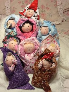 Adorable, sweet Swaddlekins are a unique Swaddle Baby Doll Pattern with poseable arms and a permanently attached blanket for hours of baby doll fun. Pattern has 10 different faces and 6 hair choices for a total of 60 variations! Blankets can be made with a washcloth in this pattern to make them even quicker and easier. Combine with your favorite fabrics or scraps and colors in any way you choose and create your very own unique Swaddlekins. Full size pattern pieces, just print, cut and sew…